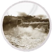 High Falls On The Genesee River Rochester New York At Flood Stage Circa 1904 Round Beach Towel