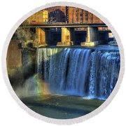 High Falls Rainbow Round Beach Towel