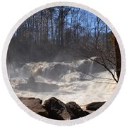 High Falls State Park Round Beach Towel