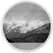 High Himalayas - Black And White Round Beach Towel
