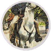 High Horse Round Beach Towel