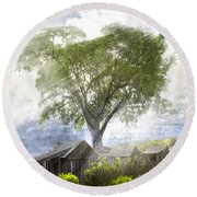 High In The Clouds Round Beach Towel by Debra and Dave Vanderlaan