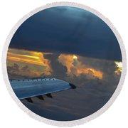 High In The Clouds II Round Beach Towel