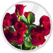 High Key Red Roses Round Beach Towel