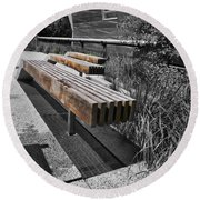 High Line Benches Black And White Round Beach Towel