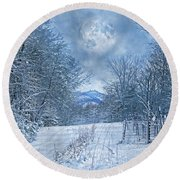 High Peak Mountain Snow Round Beach Towel