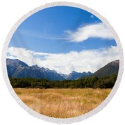 High Peaks Of Eglinton Valley In Fjordland Np Nz Round Beach Towel