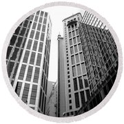 High Rise Building In The Financial Center Of Hong Kong Round Beach Towel