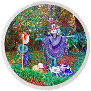 High Satch Scarecrow In A Hat Round Beach Towel