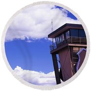 High Section View Of Railroad Tower Round Beach Towel