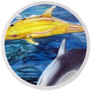 High Tech Dolphins Round Beach Towel by Thomas J Herring