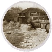 High Tide And Big Waves At Lovers Point Beach Pacific Grove California Circa 1907 Round Beach Towel