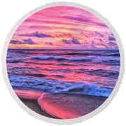 High Tide At San Onofre Round Beach Towel