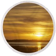 High Tide In The Marsh Round Beach Towel