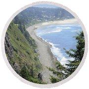 High View Of Oregon Coast Round Beach Towel