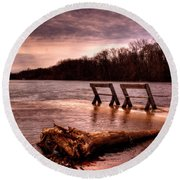 High Water On The Wolf River Round Beach Towel