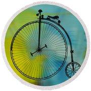 High Wheel Bicycle Round Beach Towel