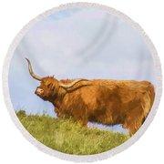Highland Cow Watercolour Round Beach Towel