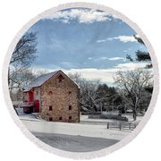 Highland Farms In The Snow Round Beach Towel