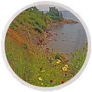 Highlands Coastline In Cape Breton Highlands Np-ns Round Beach Towel