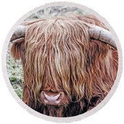Highlands Coo Round Beach Towel