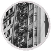 Highrise Fire Escape Bw Round Beach Towel