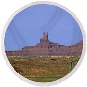 Highway 163 Leading Into Monument Valley With Rock Formations In Round Beach Towel