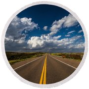 Highway Life - Blue Sky Down The Road In Oklahoma Round Beach Towel