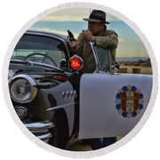 Highway Patrol 6 Round Beach Towel by Tommy Anderson