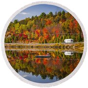 Highway Through Fall Forest Round Beach Towel