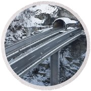 Higway Tunnel With A Bridge Round Beach Towel