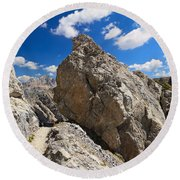 hike in Dolomites Round Beach Towel