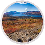 Hiker In Fall-colored Tundra Round Beach Towel