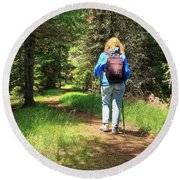 Hiker In The Forest Round Beach Towel