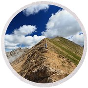 Hiker On Mountain Ridge Round Beach Towel
