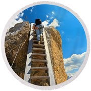 Hiker On Wooden Staircase Round Beach Towel