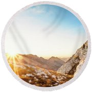Hiker Standing On Rock Formation Round Beach Towel