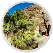 Hikers At Oasis On Borrego Palm Canyon Trail In Anza-borrego Desert Sp-ca  Round Beach Towel