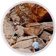 Hikers Enter Ladder Canyon From Big Painted Canyons Trail In Mecca Hills-ca  Round Beach Towel