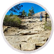 Hikers On Sentinel Dome Trail In Yosemite Np-ca  Round Beach Towel