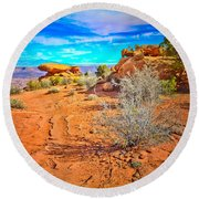 Hiking In Canyonlands Round Beach Towel