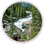 Hiking In Mistaya Canyon Along Icefield Parkway In Alberta Round Beach Towel