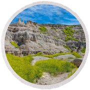Hiking In The Badlands Round Beach Towel