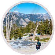 Hiking On Barren Rock On Sentinel Dome In Yosemite Np-ca Round Beach Towel