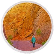 Hiking On Capitol Gorge Pioneer Trail In Capitol Reef National Park-utah Round Beach Towel