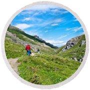 Hiking On Savage River Trail In Denali Np-ak    Round Beach Towel