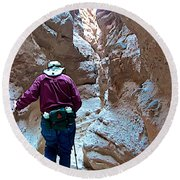 Hiking Through Narrow Slot Of Ladder Canyon Trail In Mecca Hills-ca Round Beach Towel