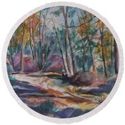 Hiking To A Vision Round Beach Towel