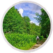 Hiking Trail Along Rivier Du Nord In The Laurentians North Of Montreal-qc Round Beach Towel