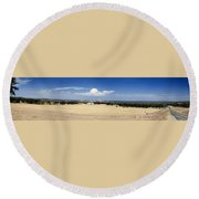 Hill Country And Enchanted Rock Panorama Round Beach Towel